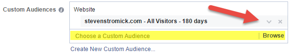 selecting a custom audience for an ad